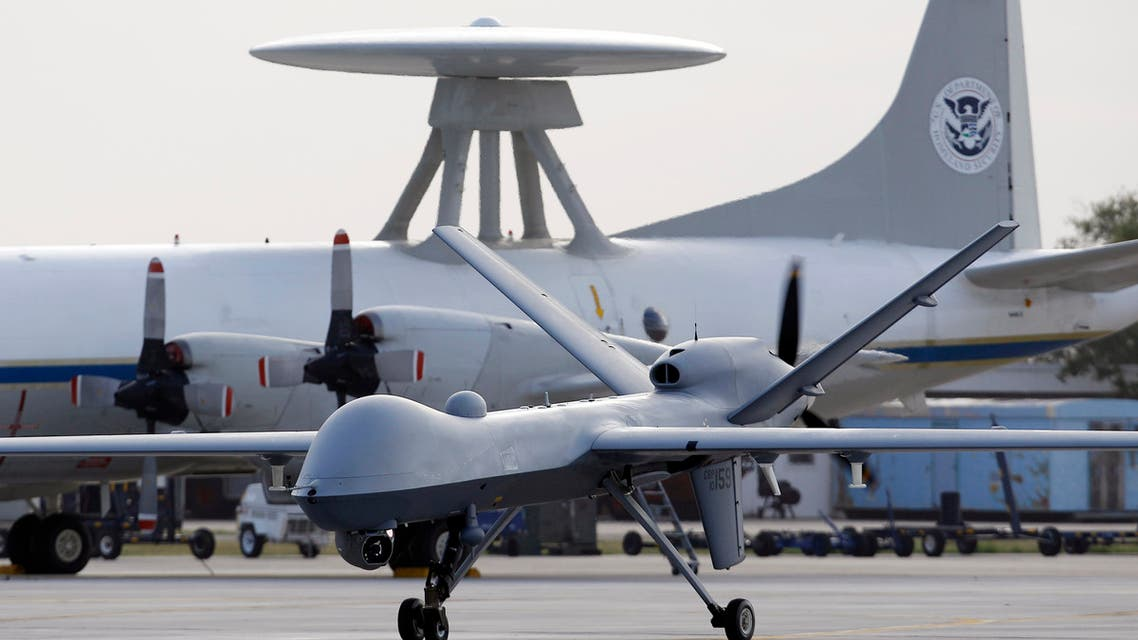 A Predator B unmanned aircraft taxis at the Naval Air Station in Corpus Christi, Texas. (AP)