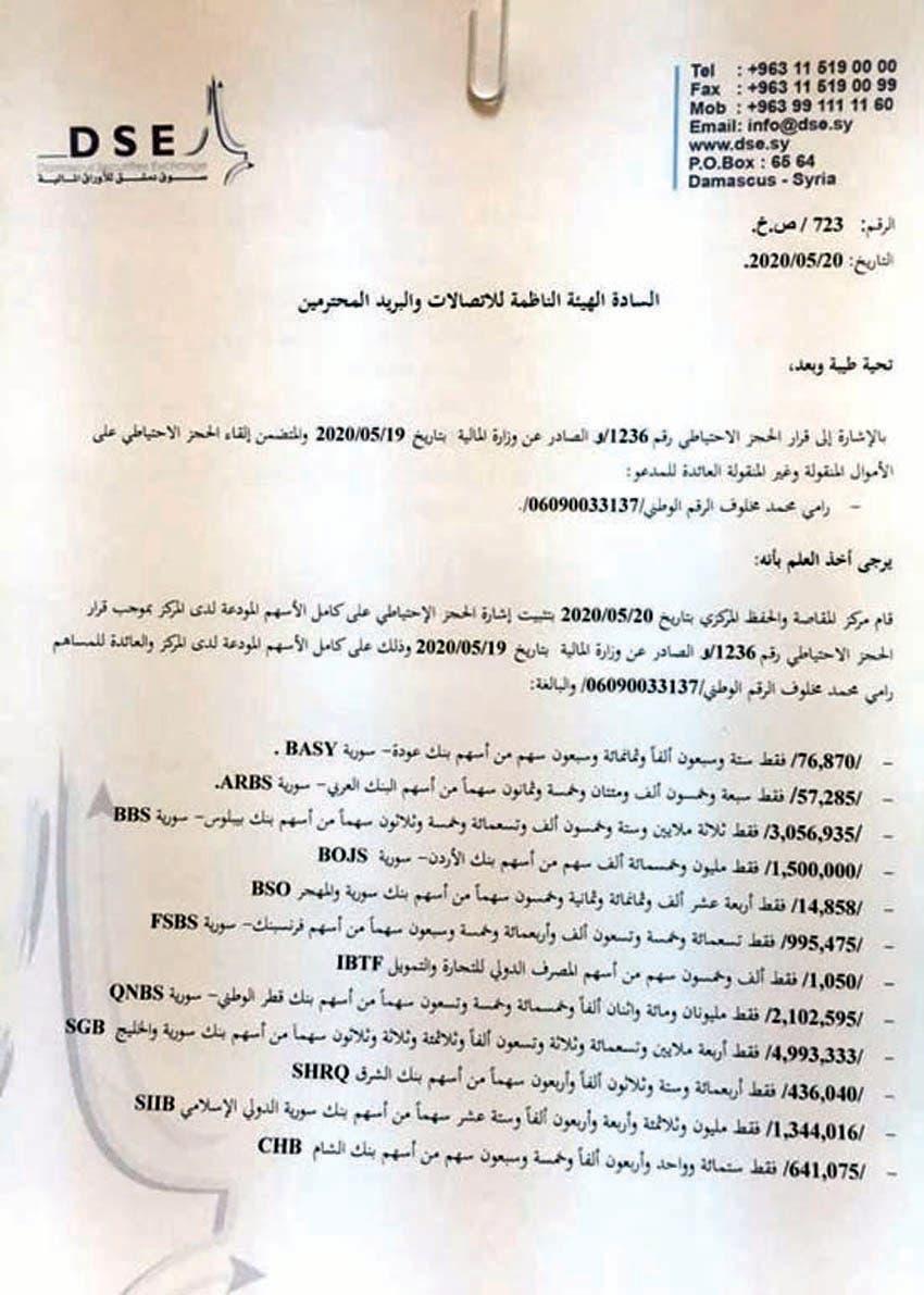 وثيقة تظهر قرار حجز أسهم رامي مخلوف