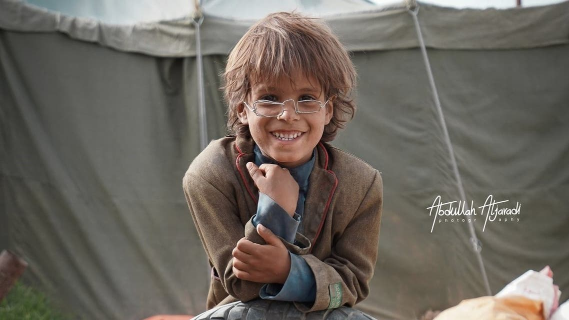 Mohammed, the refugee boy who traded in his glasses for a photograph. (Twitter)