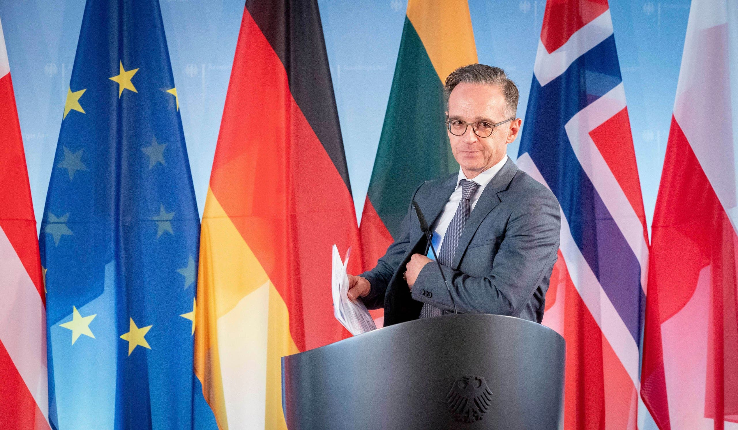 German Foreign Minister Heiko Maas briefs the media prior to the Foreign Ministers' Meeting of the Council of the Baltic Sea States at the foreign ministry in Berlin, Germany, on Tuesday, May 19, 2020. (AP)