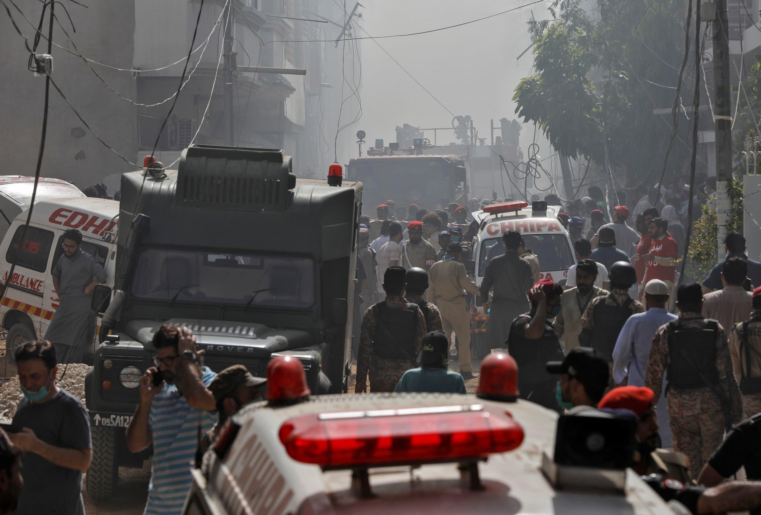 مكان تحطم الطائرة الباكستانية