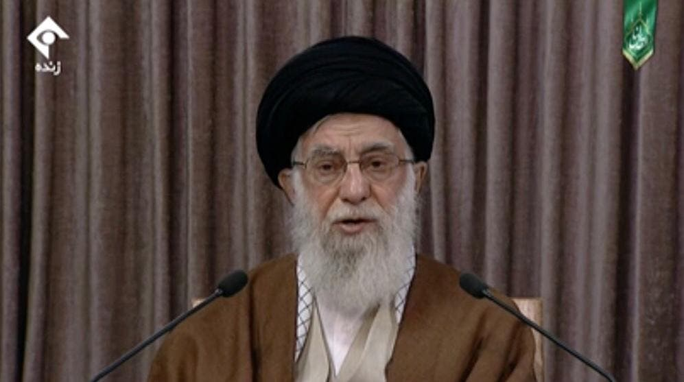 Iran's Supreme Leader Ali Khamenei giving a speech on Quds Day, May 22, 2020. (Screengrab)