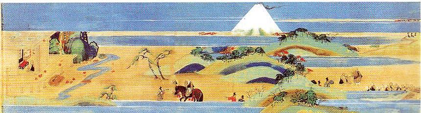 رسم على لفافة لجبل فوجي من القرن الرابع عشر