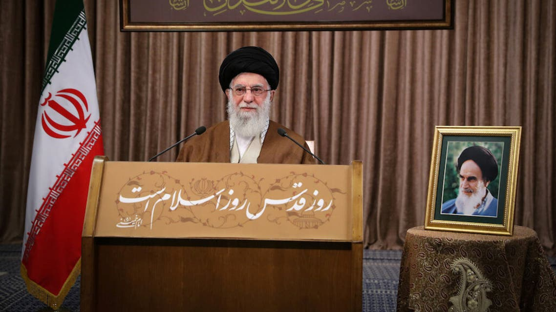 Iran's Supreme Leader Ayatollah Ali Khamenei delivers a live televised speech marking the annual Al-Quds Day (Jerusalem Day), in Tehran. (Reuters)