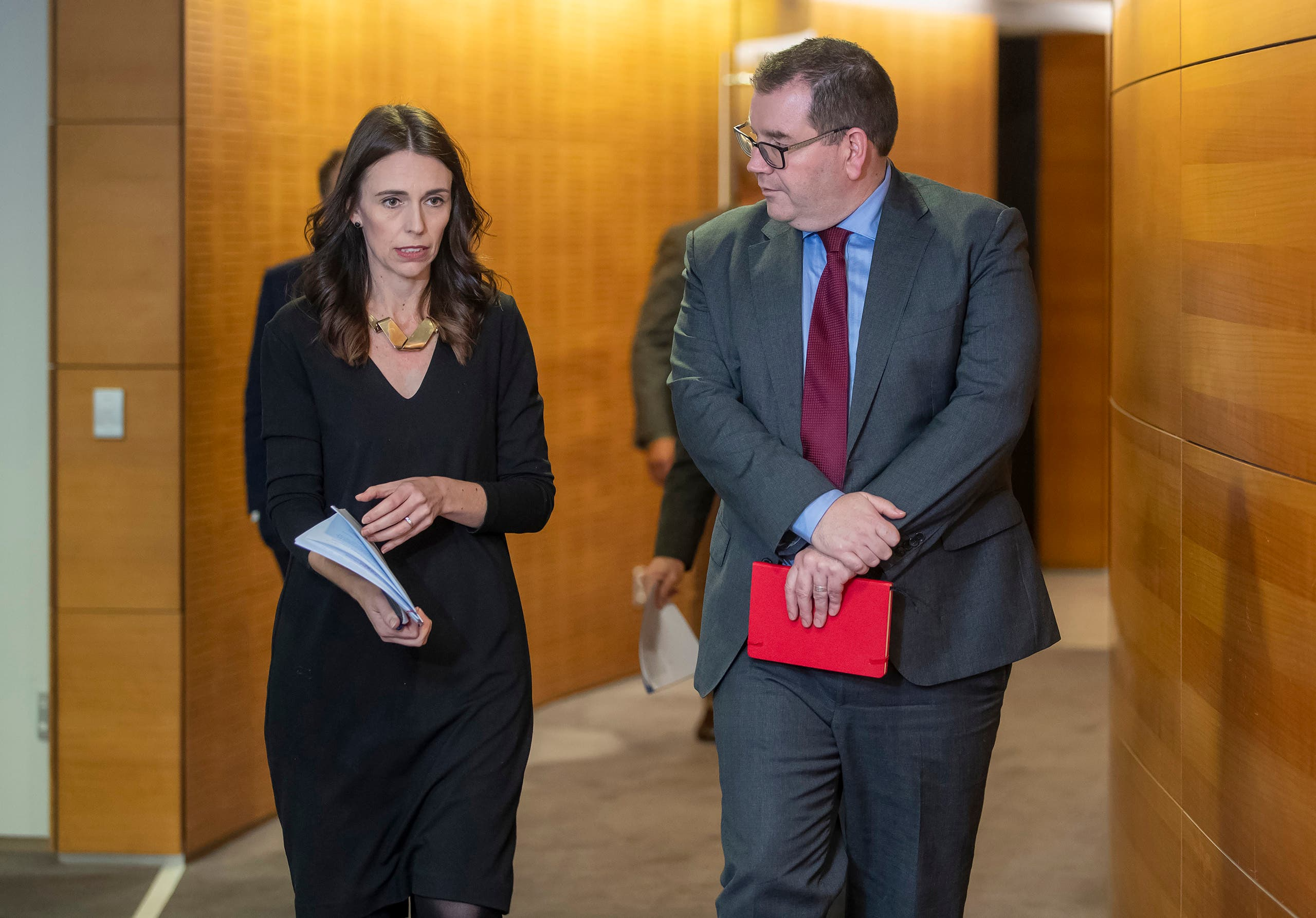 New Zealand Prime Minister Jacinda Ardern arriving for the post-Cabinet press conference with Finance Minister Grant Robertson in Wellington, New Zealand, on Monday May 11, 2020. (AP)