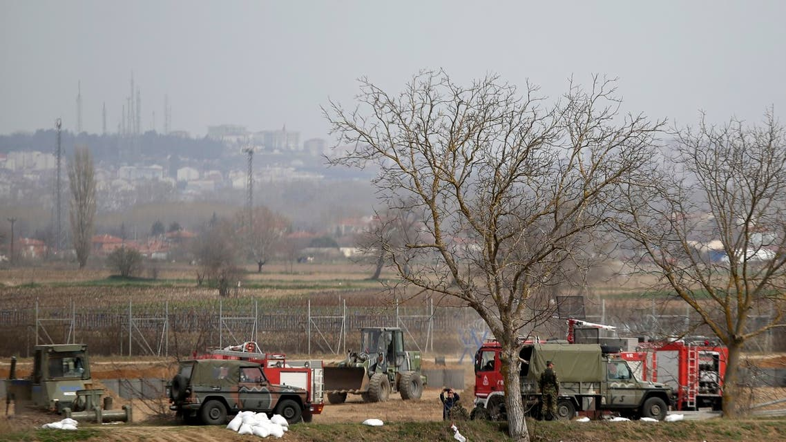 Greek army reinforces the border line at the Greek-Turkish border in the village of Kastanies, Evros region on Monday, March 9, 2020. (AP)