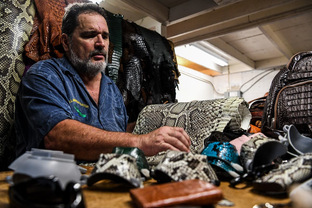 Brian Woods, the 63-year-old owner of All American Gator Products, has turned his hand to designing protective face masks made out reptile skin. (AFP)