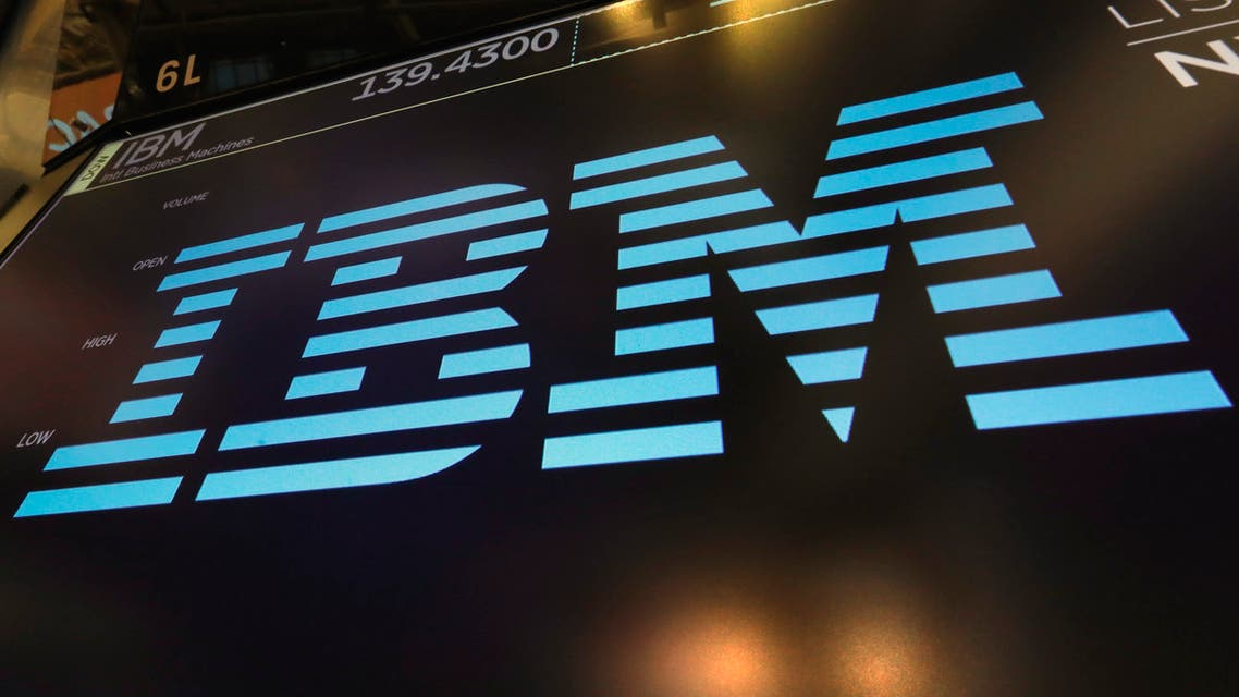 The logo for IBM appears above a trading post on the floor of the New York Stock Exchange. (AP)