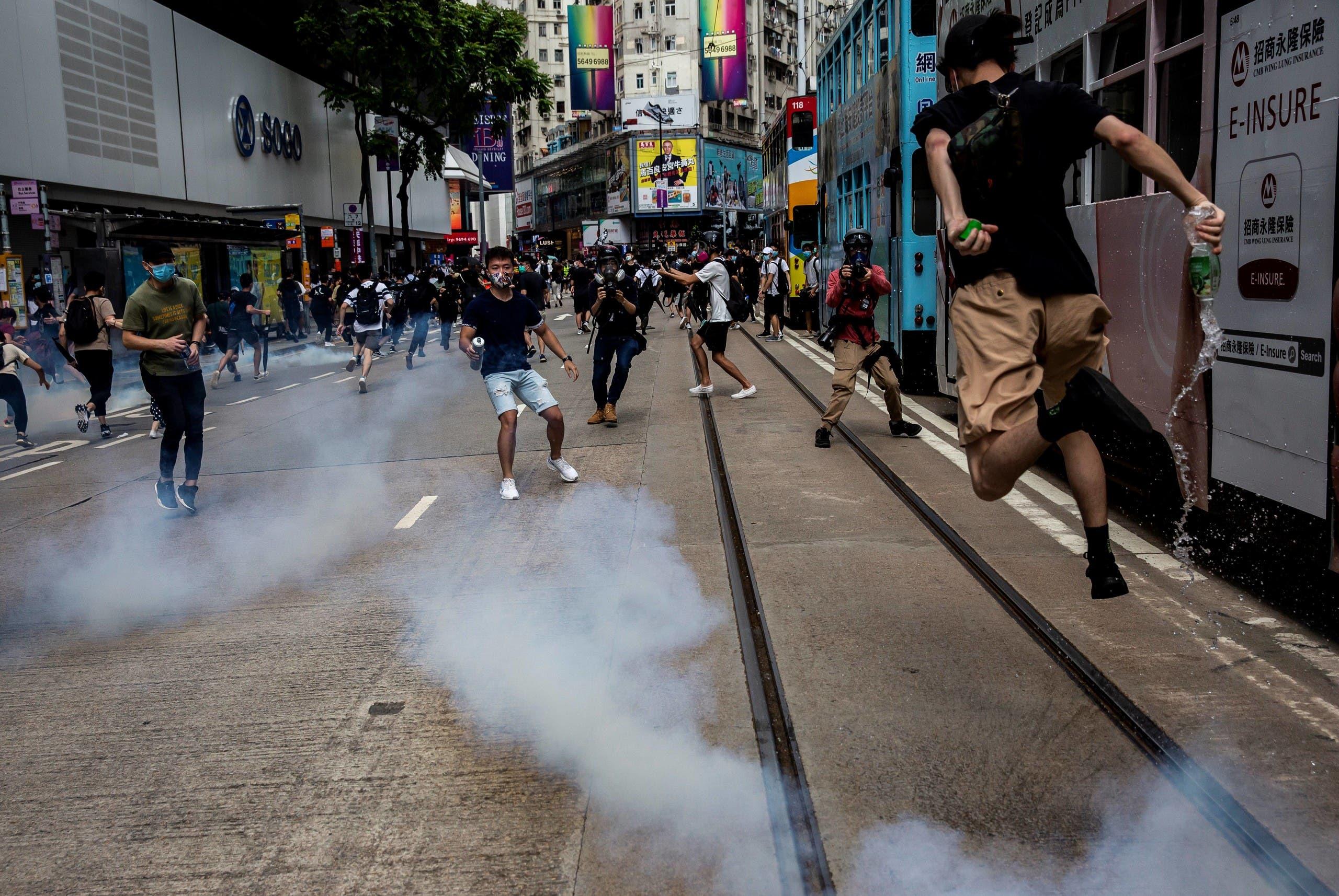تظاهرات في هونغ كونغ احتجاجا على قانون بكين (أرشيفية- فرانس برس)