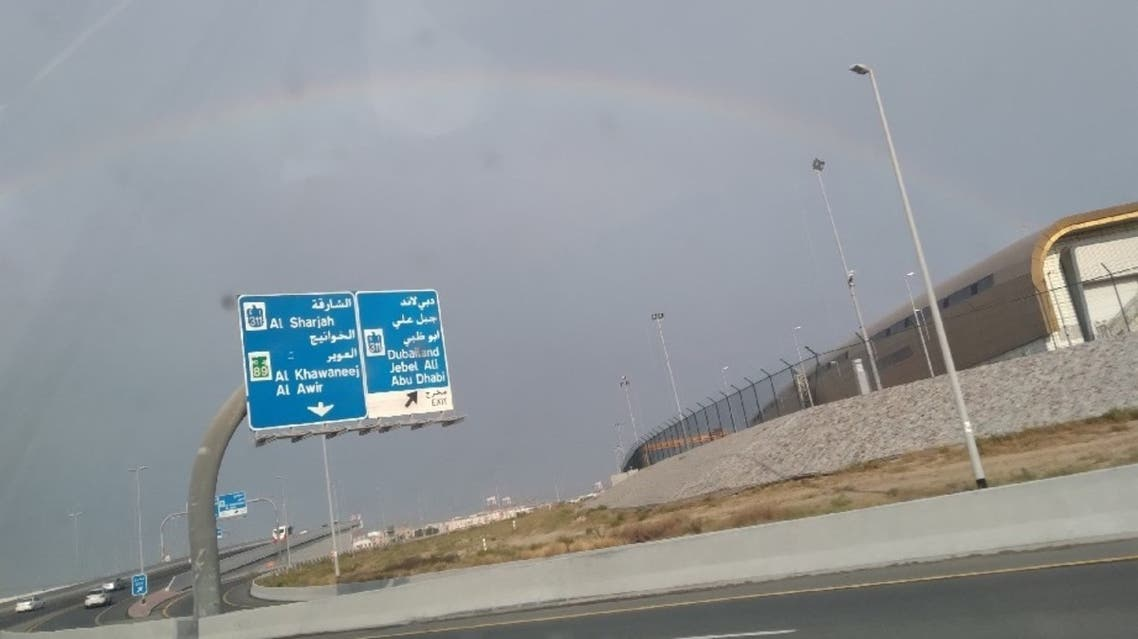 Social media users share pictures of a rainbow in Dubai after heavy rainfall on the first day of Eid al-Fitr. (Twitter)