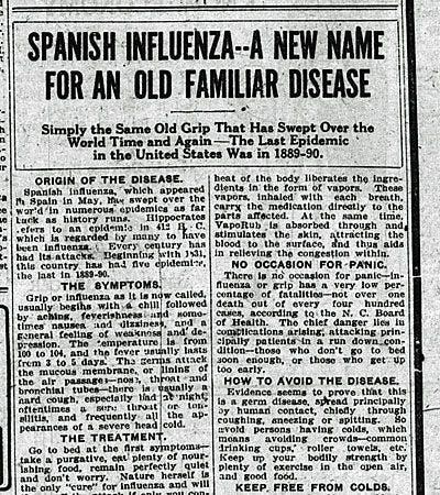 مقال صحافي يعود لعام 1918 حول الإنفلونزا الإسبانية