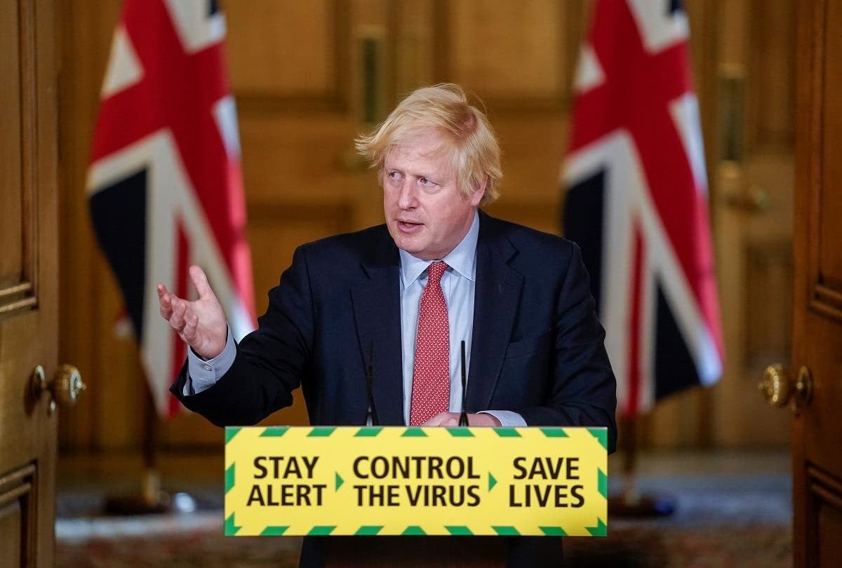 Britain's Prime Minister Boris Johnson holds a daily news conference with Public Health England's (PHE) Medical Director Yvonne Doyle (not pictured), on the coronavirus disease (COVID-19) outbreak, at 10 Downing Street in London, Britain May 25, 2020. (Reuters)