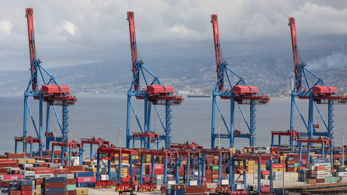 Shipping containers are seen stacked at Beirut's port, during a countrywide lockdown to prevent the spread of the coronavirus disease (COVID-19) in Beirut, Lebanon, April 8, 2020. (Reuters)