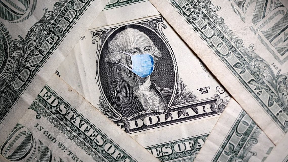 George Washington is seen with printed medical mask on the one dollar banknote in this illustration taken, March 31, 2020. (Reuters)