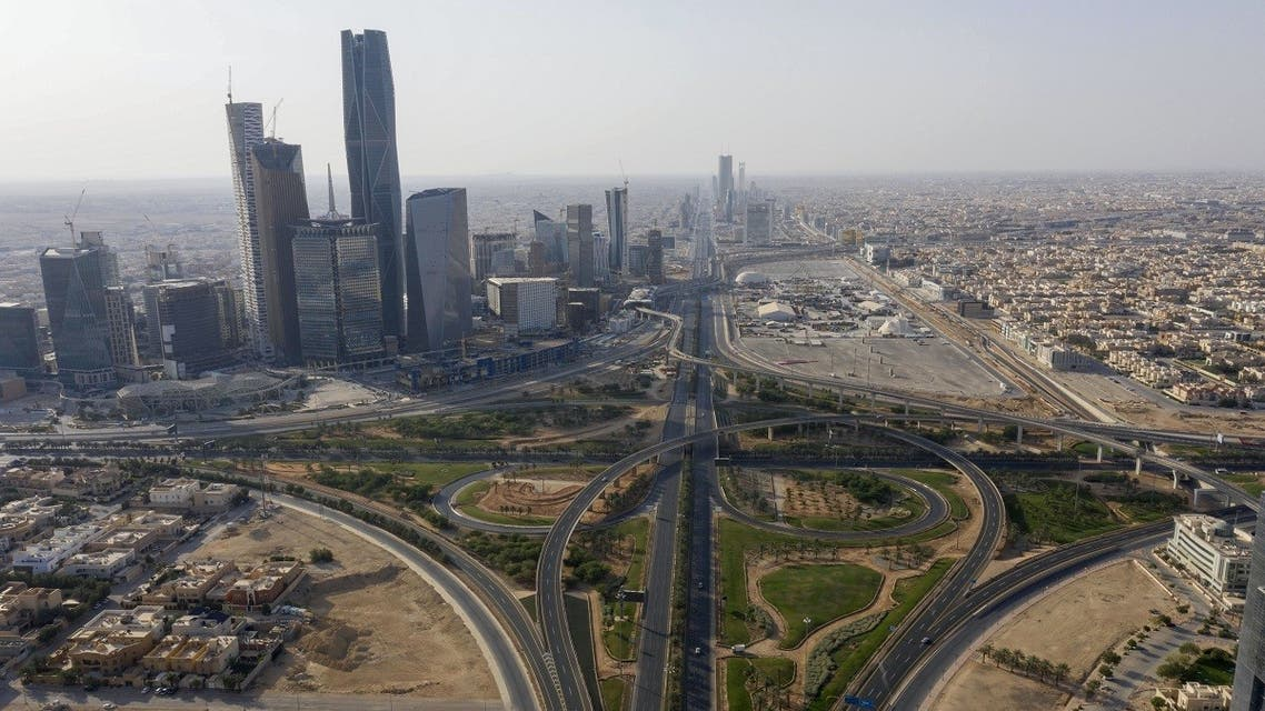 An aerial view shows King Abdullah Finance City and the northern ring road which remains empty due to the COVID-19 pandemic, on the first day of the Eid al-Fitr feast marking the end of the Muslim holy month of Ramadan, in the Saudi capital Riyadh. (AFP)