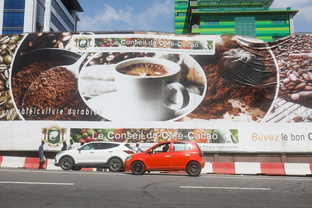 A big banner of Coffee-Cocoa Council (CCC), is seen in a street in Abidjan, Ivory Coast, December 9, 2019. Picture taken December 9, 2019. (Reuters)