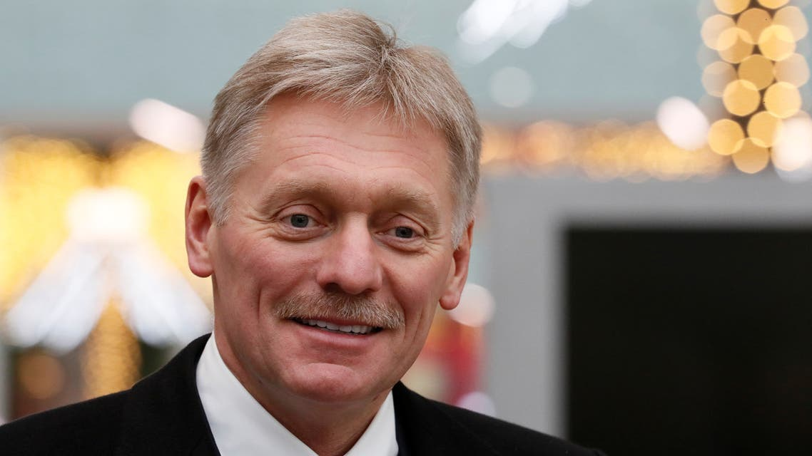 FILE PHOTO: Kremlin spokesman Dmitry Peskov listens during Russian President Vladimir Putin's annual end-of-year news conference in Moscow, Russia December 19, 2019. REUTERS/Evgenia Novozhenina/File Photo NO RESALES. NO ARCHIVES