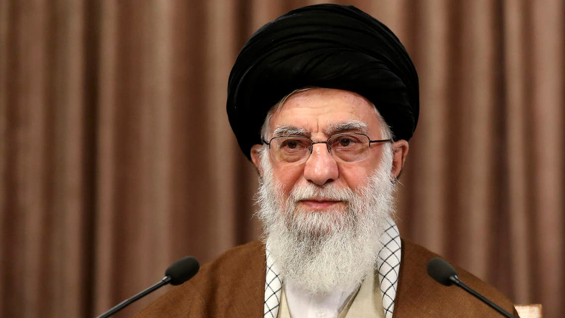 In this photo released by the official website of the office of the Iranian supreme leader, Supreme Leader Ayatollah Ali Khamenei addresses in a televised speech marking the annual Quds, or Jerusalem Day, in Tehran, Iran, Friday, May 22, 2020. (AP)