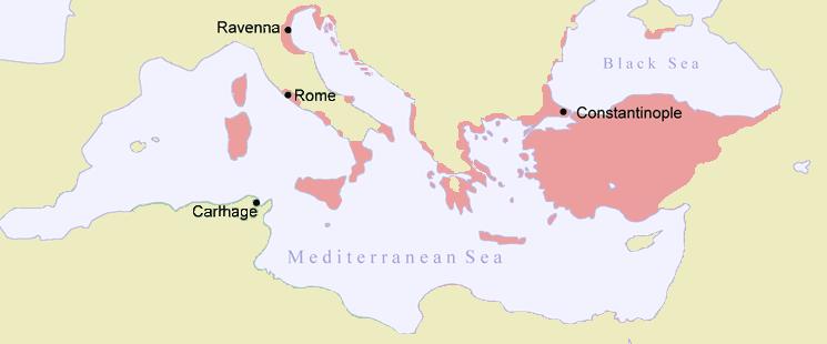 خريطة تجسد المناطق القابعة تحت سيطرة البيزنطيين مطلع القرن الثامن