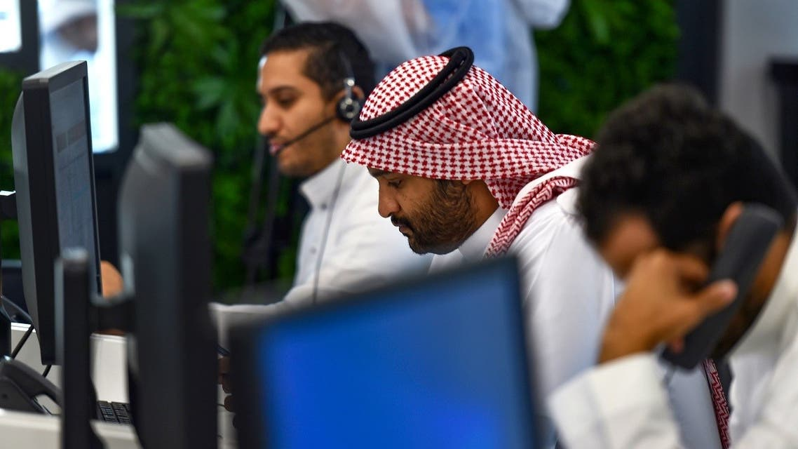 Employees work at the Saudi National Health Emergency Operations Center (NHEOC) in the capital Ryadh on May 3, 2020. (AFP)