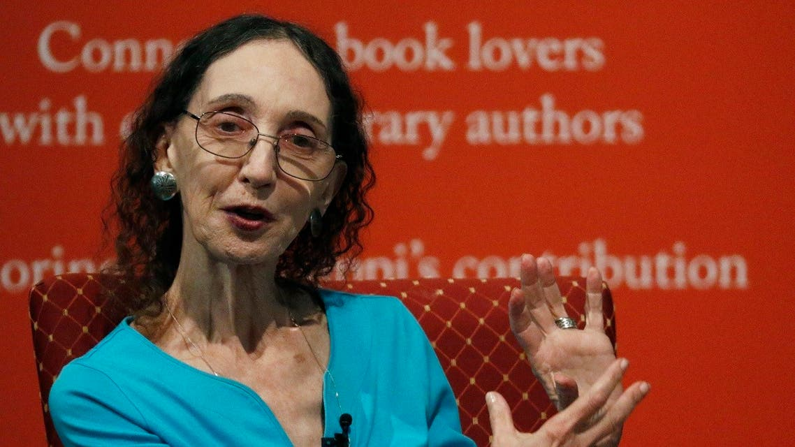 Author Joyce Carol Oates speaks about her process for constructing a story Saturday, Aug. 17, 2019, at the Mississippi Book Festival in Jackson, Miss. (AP)