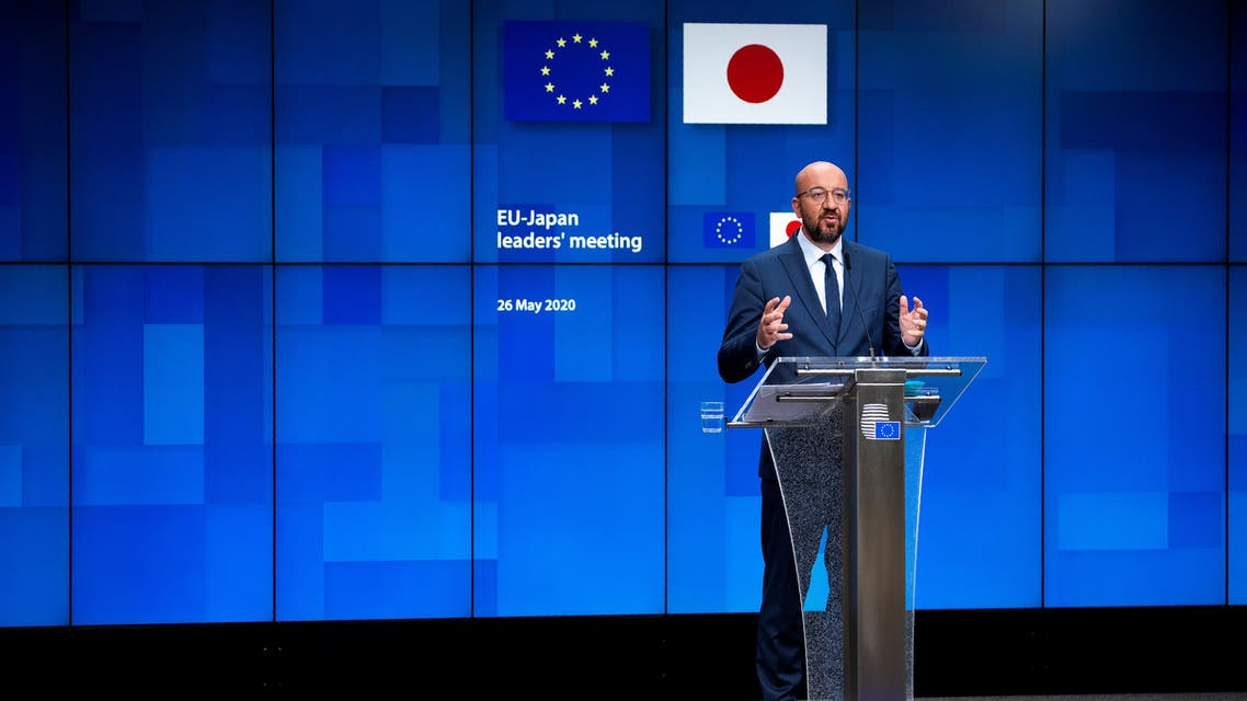 European Council President Charles Michel speaks during a news conference following an EU-Japan videoconference summit at the European Council headquarters in Brussels, Belgium May 26, 2020. Francisco Seco/Pool via REUTERS