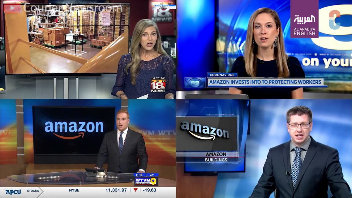 US TV stations using the same script for a story on Amazon. (Screengrab)