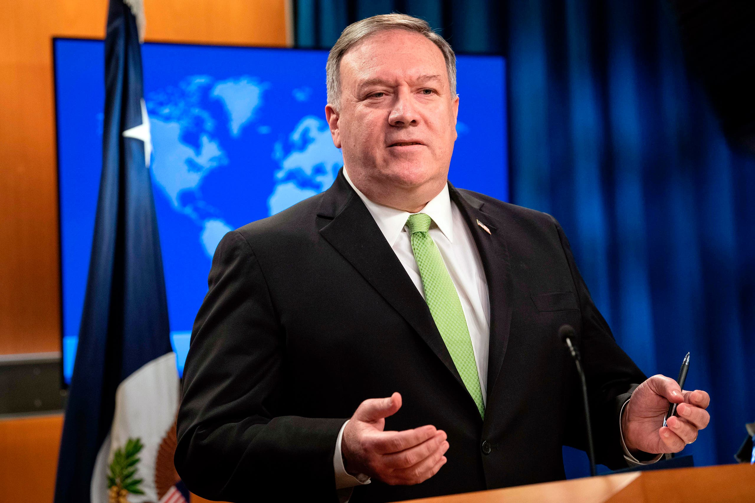 Secretary of State Mike Pompeo speaks during a press briefing at the State Department on Wednesday, May 20, 2020, in Washington. (AP)