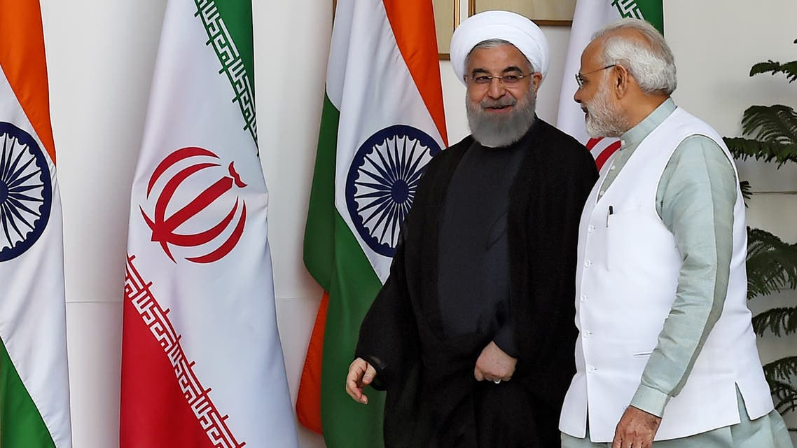 Iranian President Hassan Rouhani (L) and Indian Prime Minister Narendra Modi arrive for a meeting in New Delhi on February 17, 2018. (File photo: AFP)