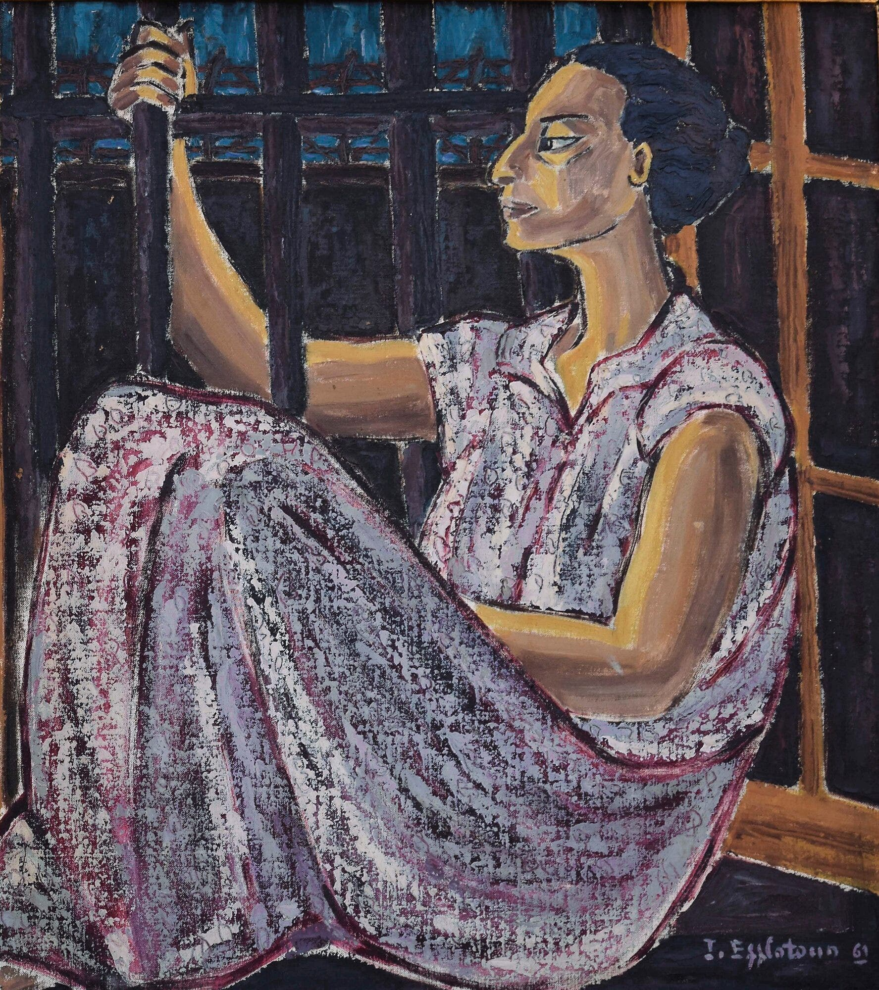 Inji Efflatoun, Dreams of the Detainee, 1961, Oil on canvas, 50 x 40 cm. (Image courtesy of Barjeel Art Foundation, Sharjah.)
