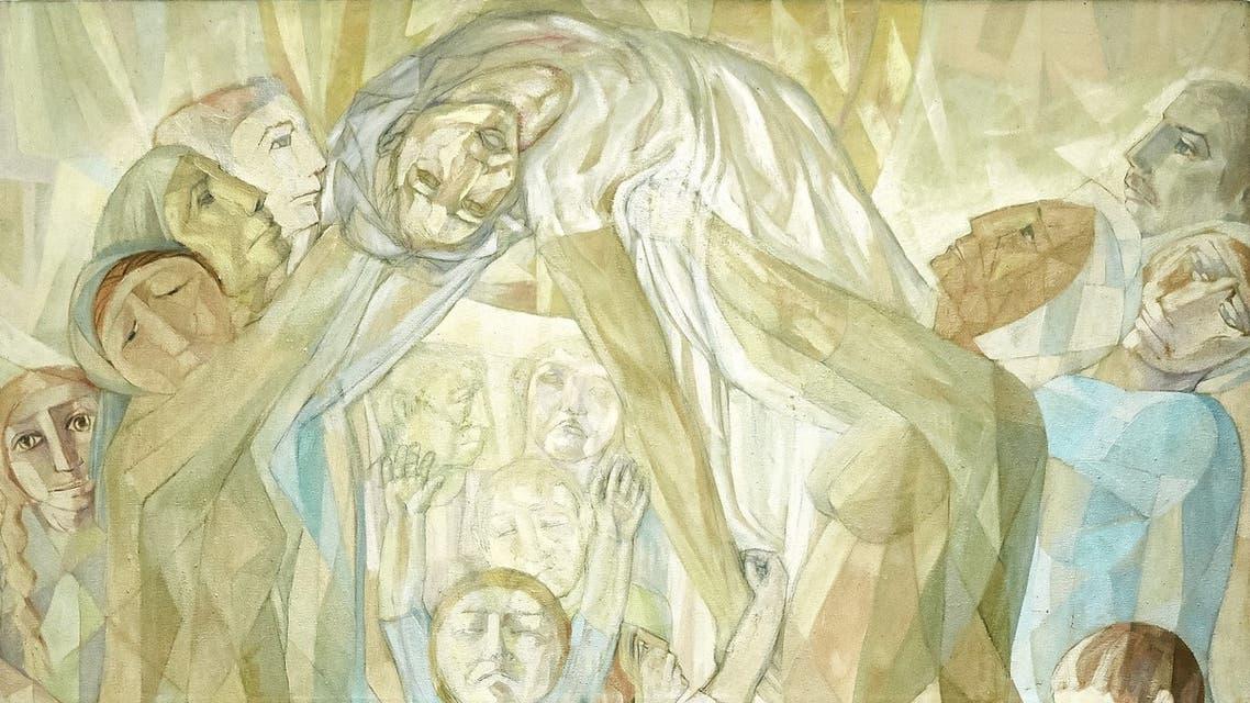 Leila Nseir, The Martyr (The Nation), 1978, Oil on canvas, 160 x 140 cm. (Image courtesy of Barjeel Art Foundation, Sharjah.)