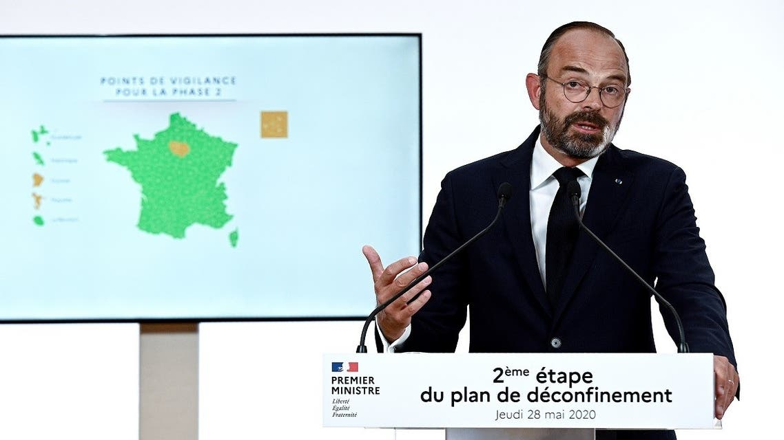 French Prime Minister Edouard Philippe speaks during a televised address at the Hotel Matignon in Paris on May 28, 2020, to announce the second phase of the easing of lockdown measures from June 2. (AFP)