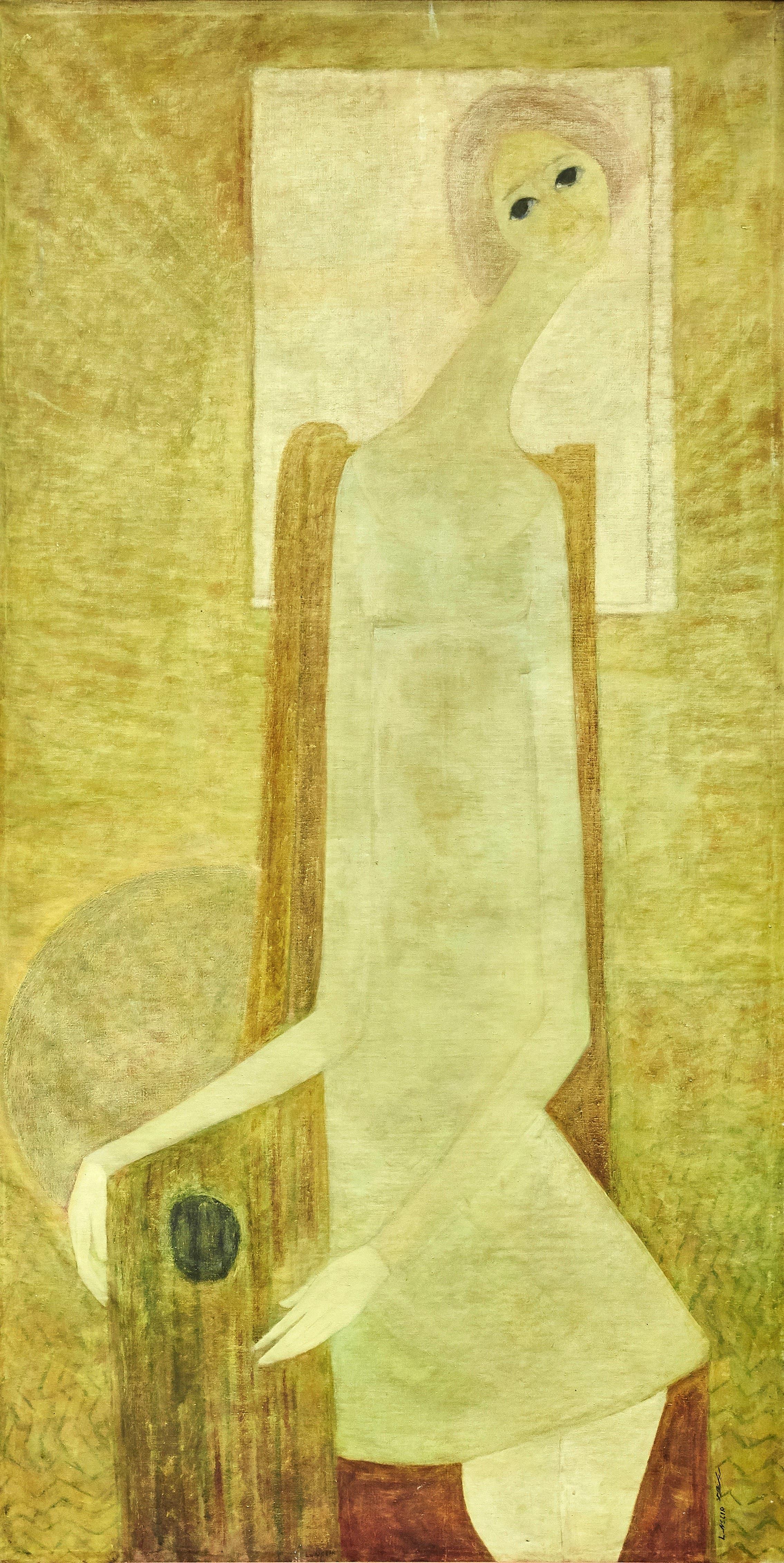 Leila Nseir, Motherhood, 1970, Oil on canvas, 202 x 102 cm. (Image courtesy of Barjeel Art Foundation, Sharjah.)
