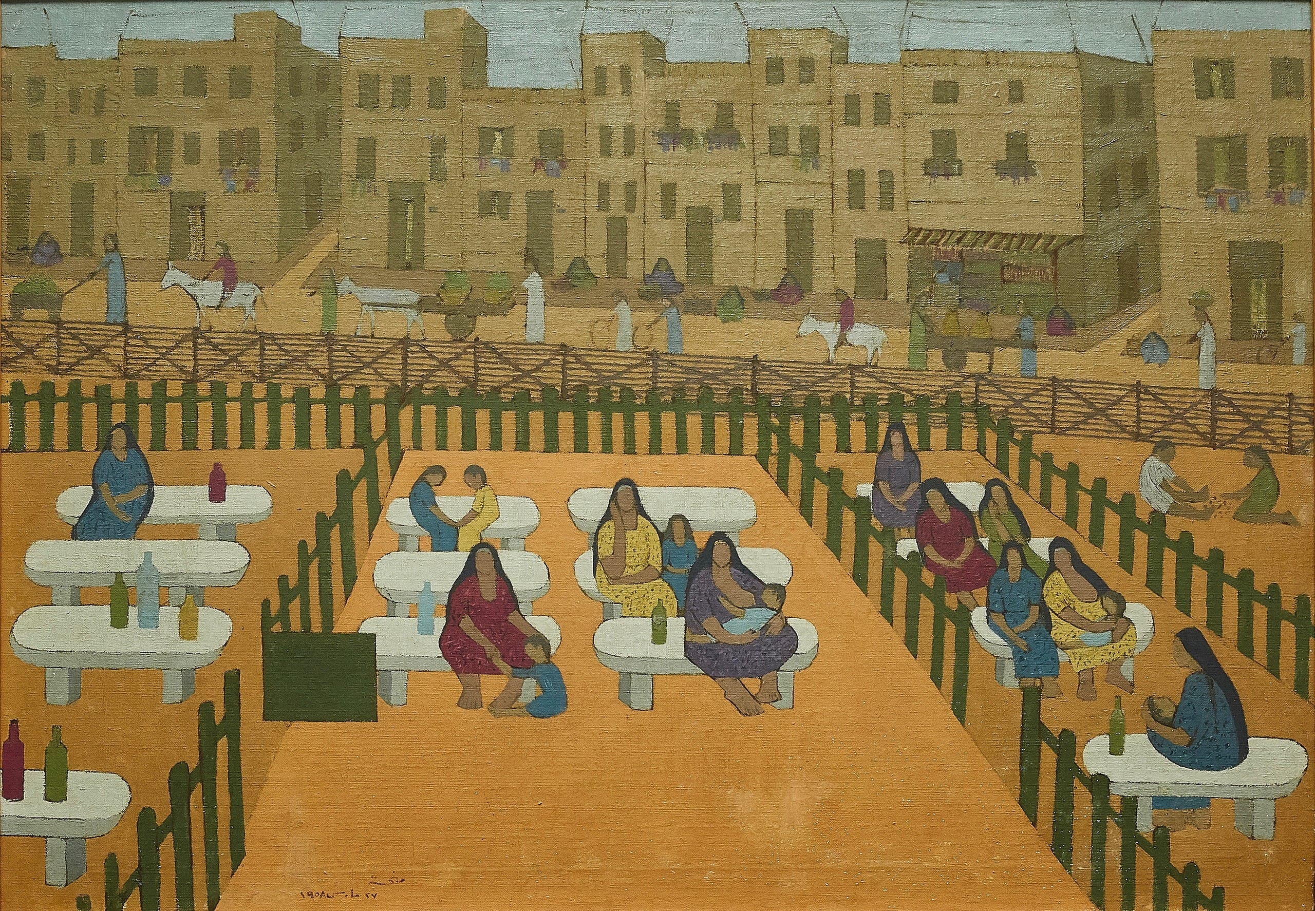 Menhat Helmy, Outpatient Clinic, 1958, Oil on canvas, 66 x 80 cm. Image courtesy of Barjeel Art Foundation, Sharjah.)