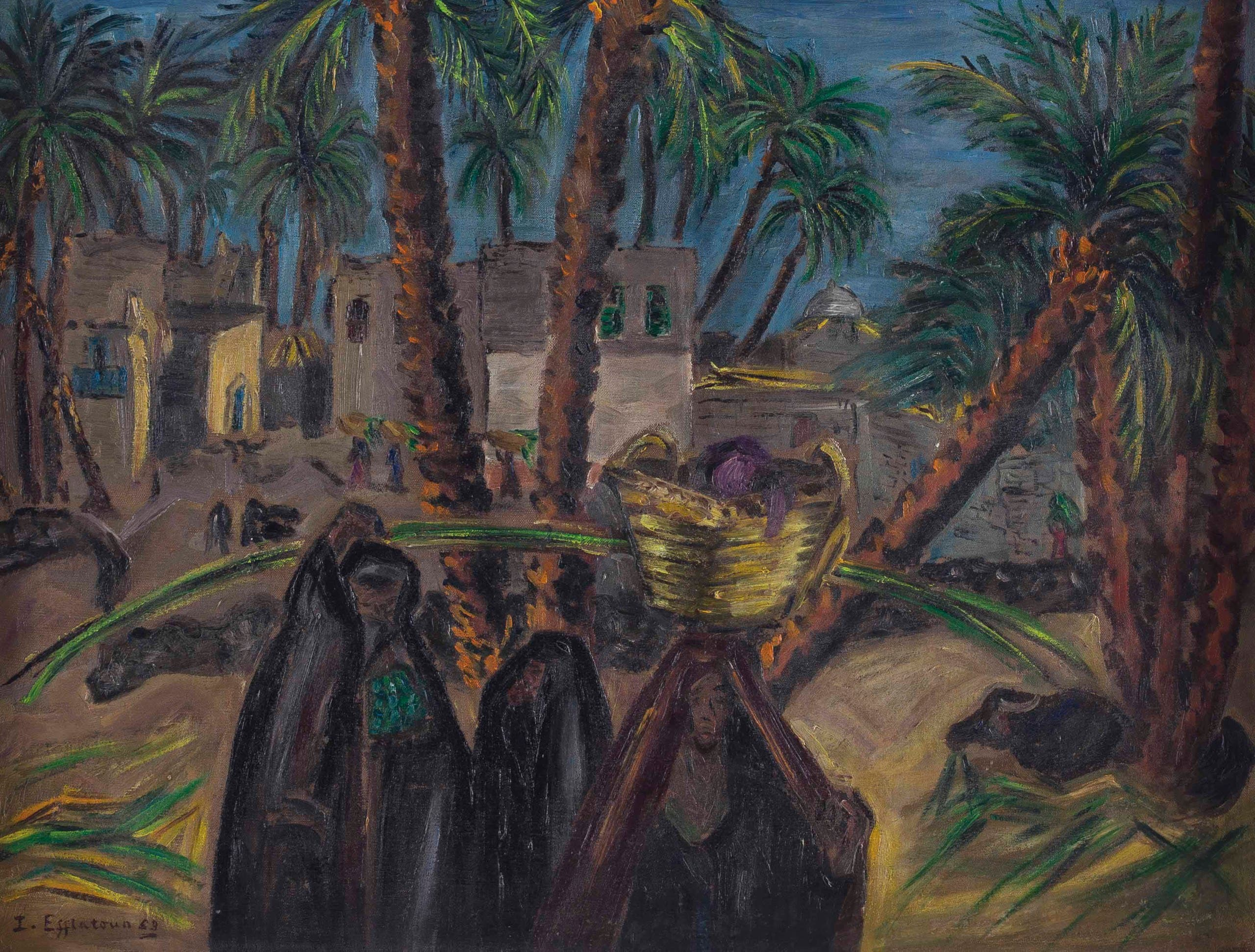 Inji Efflatoun, Ezba (Farm), 1953, Oil on board, 47 x 63 cm. (Image courtesy of Barjeel Art Foundation, Sharjah.)