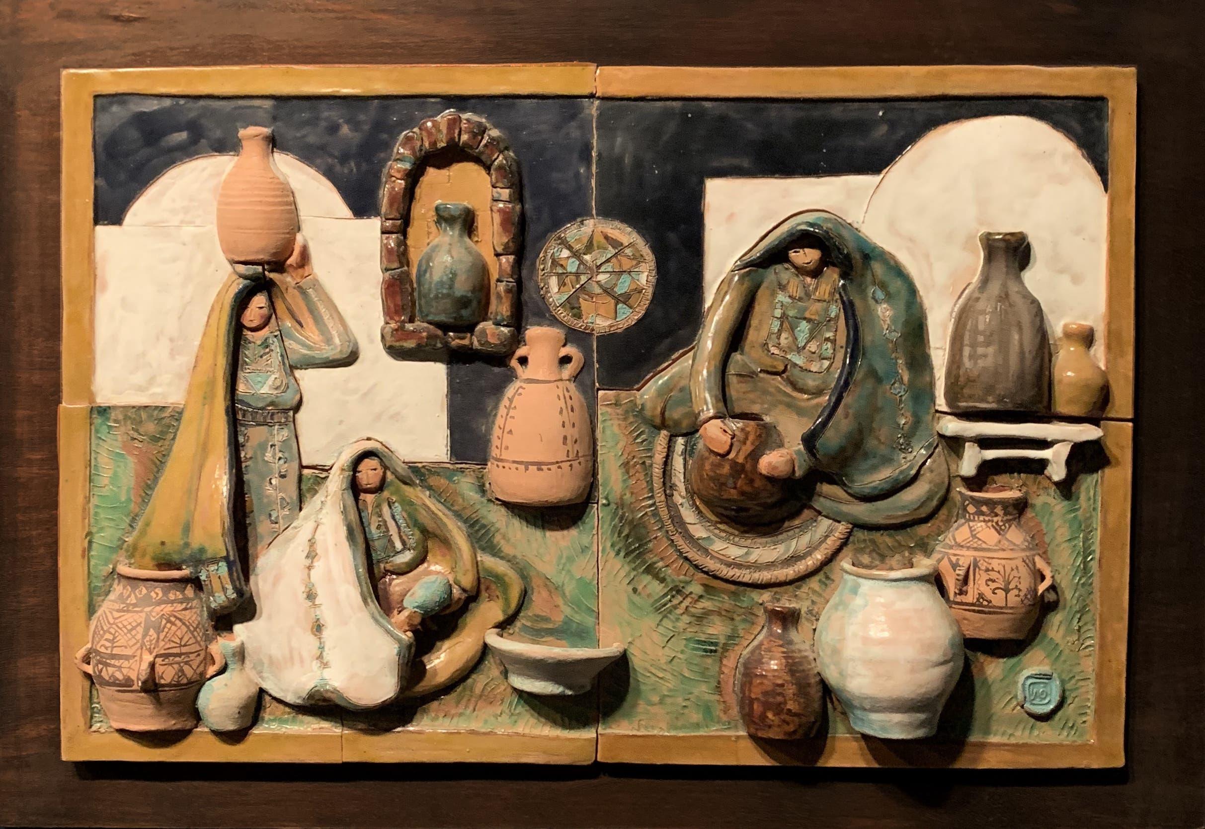 Vera Tamari, Palestinian Women at Work, 1979, Ceramic relief. (Image courtesy of Barjeel Art Foundation, Sharjah.)
