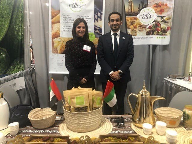 Elli Kriel at Kosher Fest 2019 in New Jersey with UAE Consul General to NY, H.E. Abdalla Shaheen. (Courtesy: Elli Kriel)