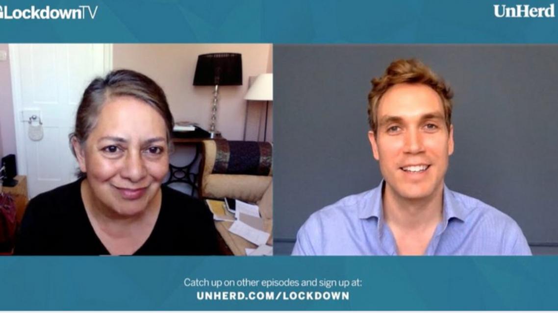 Professor Sunetra Gupta interviewed by Freddie Sayers. (Screengrab, UnHerd TV via YouTube)