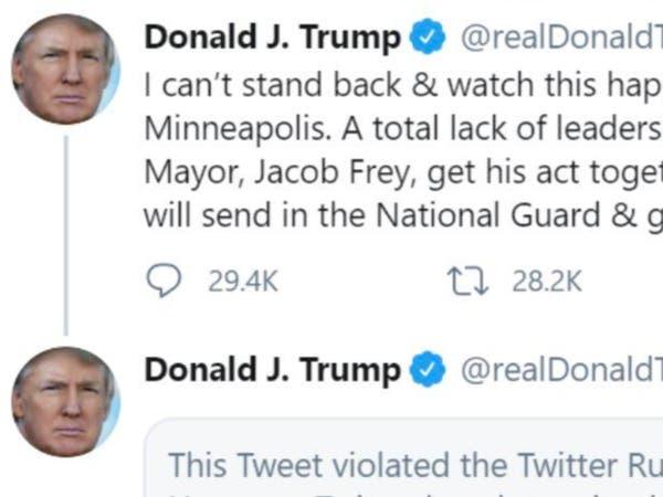 مناكفة جديدة.. تويتر يضع إشارة عنف على تغريدة لترمب