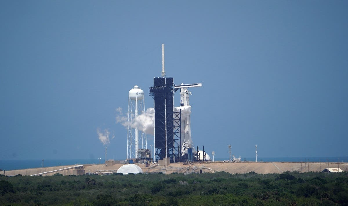 The SpaceX Falcon 9 rocket sits at Launch Complex 39A at the Kennedy Space Center in Florida on May 30, 2020. (AFP)