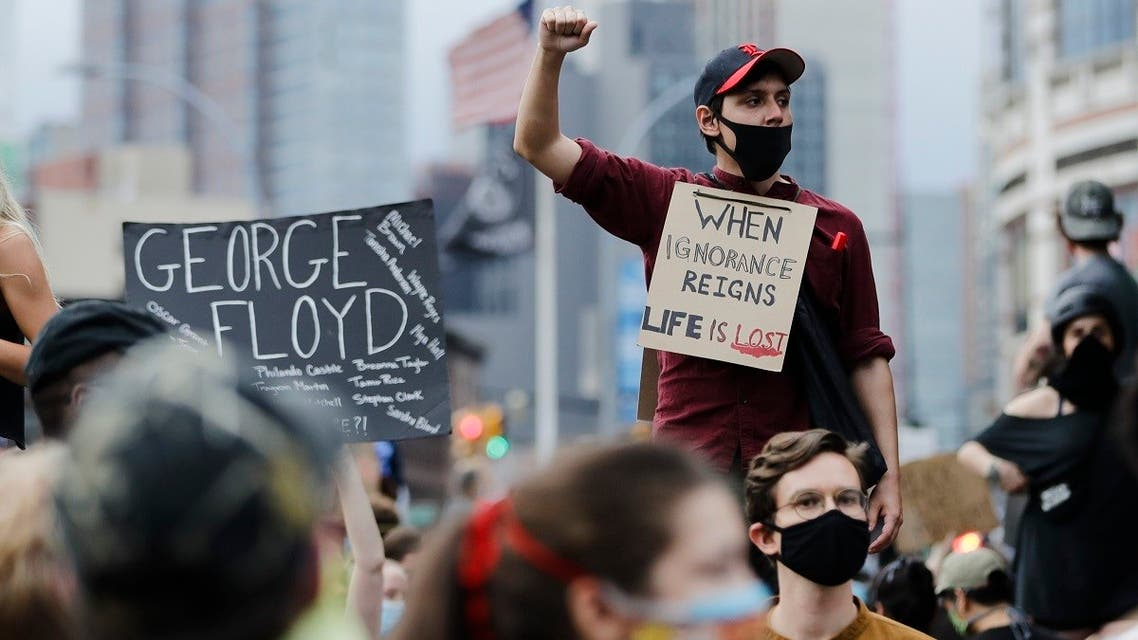 Protesters rally at the Barclays Center over the death of George Floyd, a black man who was in police custody in Minneapolis Friday, May 29, 2020, in the Brooklyn borough of New York. (AP)