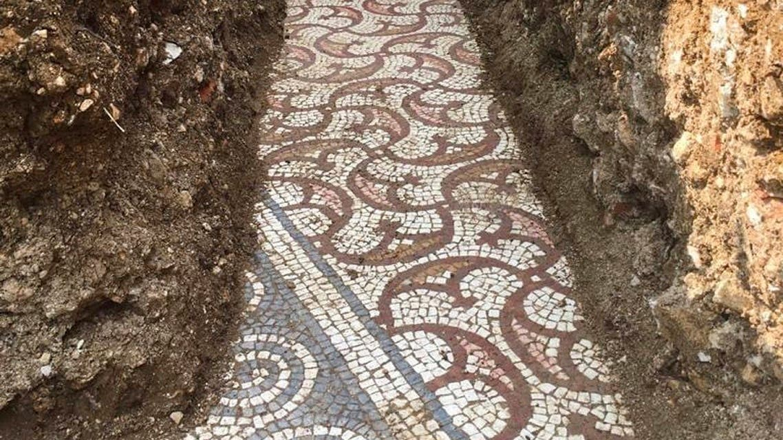 A view of a well-preserved colorful mosaic floor of an ancient Roman villa archaeologists have revealed among vineyards near the northern city of Verona, Italy. (AP)