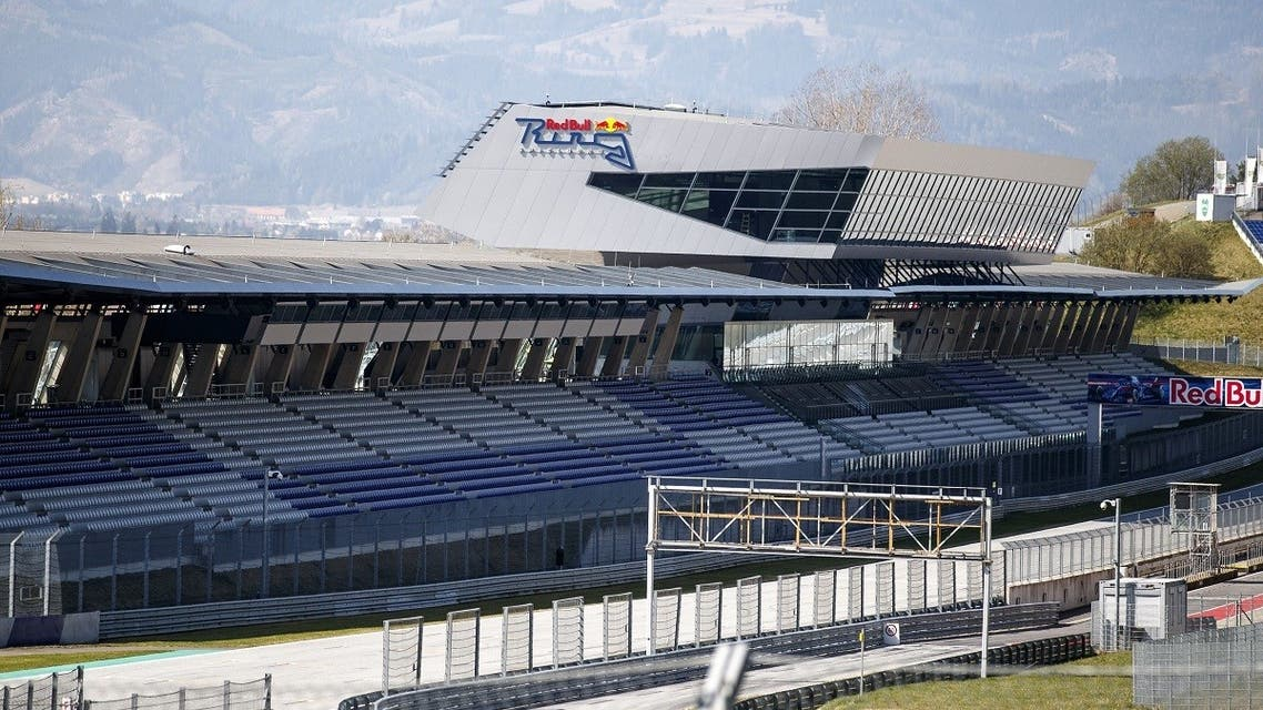 Empty stands at the Red Bull Ring race track are photographed in Spielberg, southern Austria on April 17, 2020. (AFP)
