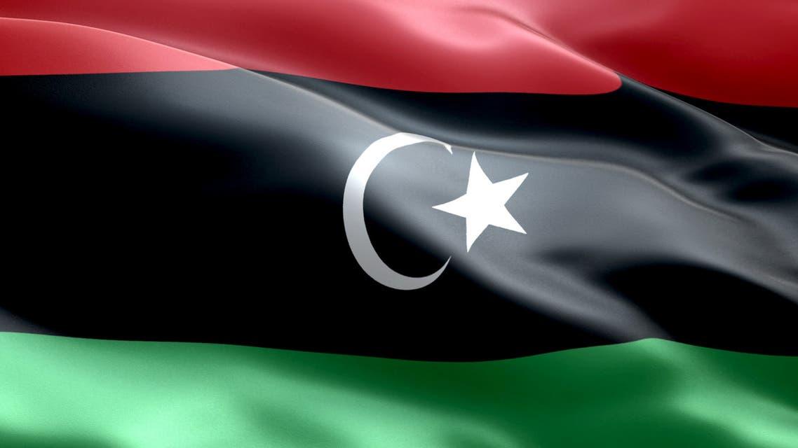 The flag of Libya stock photo
