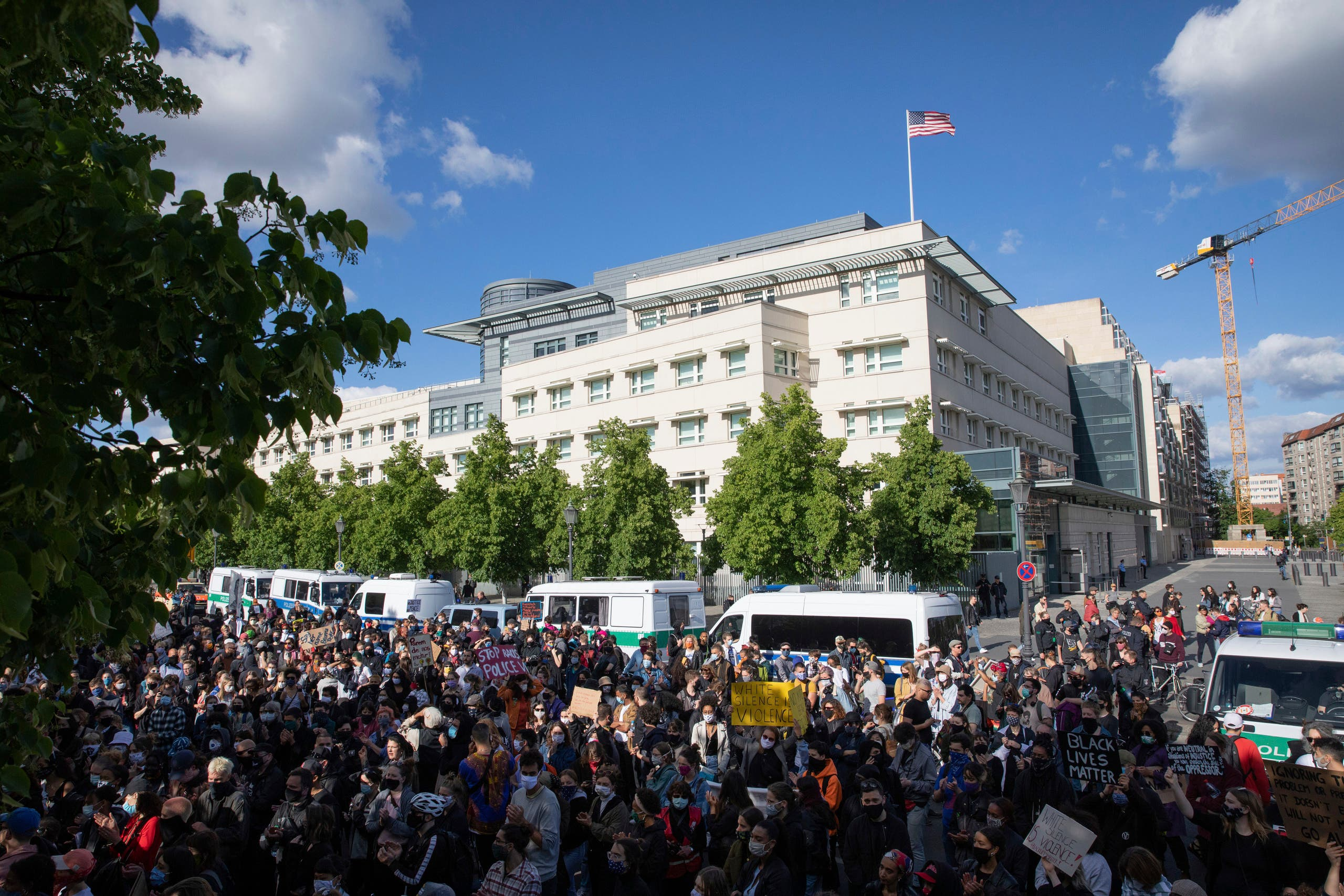 Participants in a rally on May 30, 2020, against the violent death of African-American George Floyd by a white policeman have gathered in front of the US embassy in Berlin. (AP)