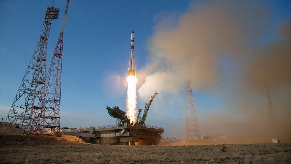 The Russian Progress MS-14 cargo spacecraft blasts off from the launch pad at Russia's space facility in Baikonur, Kazakhstan Saturday, April 25, 2020. (AP)