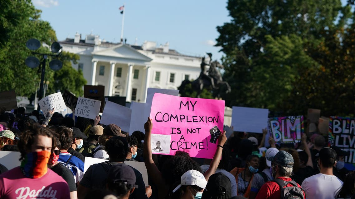 Demonstrators protesting the death of George Floyd, near the White House on May 31, 2020 in Washington, DC. (AFP)