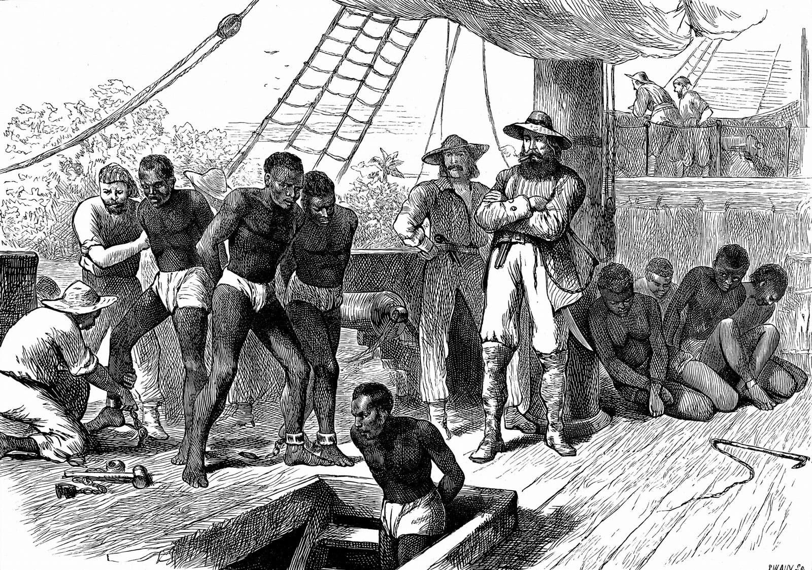 رسم تخيلي لعملية نقل عدد من العبيد من أفريقيا نحو العالم الجديد