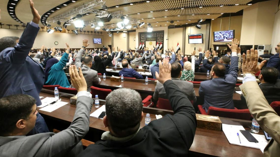 Members of the Iraqi parliament are seen vote on remaining cabinet ministers at the parliament headquarters in Baghdad, Iraq June 24, 2019. Iraqi parliament media office/Handout via REUTERS ATTENTION EDITORS - THIS PICTURE WAS PROVIDED BY A THIRD PARTY