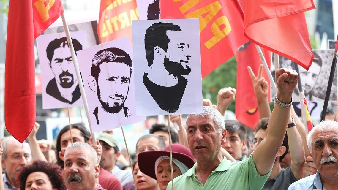 Relatives and friends of Ethem Sarisuluk, a 26-year old Turkish man who was killed by a riot police officer, take part in an anti-government protest on June 1, 2019. (AFP)